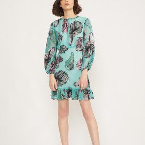 Inverness Metallic Teal Fish Blouson-Sleeve Dress